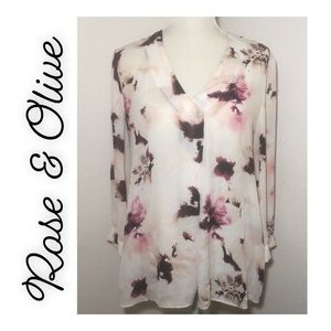 Rose & Olive Floral Long Sleeved Top